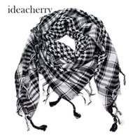 Atacado- Novo Arab Shemagh Tactical Palestina Light Polyester Scarf Shawl For Men Moda Plaid Impresso Men Scarf Wraps