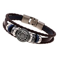 Wholesale 2017 Hot Fashion Jewelry Charm Bracelets For Men Europe And The United States Street Style Braided Retro Leather Bracelet