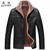 Wholesale Pu Leather Garment - Wholesale- Russian Winter Thick Leather Garment Business Casual Leather Jacket Lapel Cashmere Lined High Quality Warm PU Coat Big sizeM-4XL