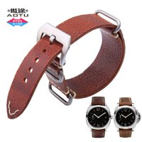 Wholesale Steel Band Tools - AOTU 24MM NATO Soft Hand-made Straps Calf Genuine Steel Pin Clasp for Panerai Breitling PAM00372 Man Woman Long Watch Band+Tool