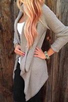 Wholesale Trendy Sweaters For Women - Wholesale-Stylish Women Sweater Trendy Collarless Knitted Long Sleeve Cardigan For Women