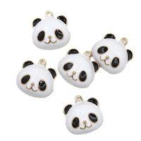 Wholesale Panda Pendant White Gold - Wholesale- Very popular black mixed with white panda charms 30pcs lot gold plated panda pendant charms gift charms 147520