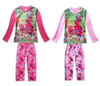 çocuklar iç çamaşırı pijama toptan satış-2017 çocuk Bahar Sonbahar Uzun Kollu Karikatür Pijama Trolls Kızlar Pijama Gecelik Giyim Setleri Iki Renk Çocuklar Iç Çamaşırı
