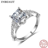 Wholesale Gold Carats - INBEAUT 18KGP Real White Gold Filled 8mm 1 Carat Cubic Zirconia Stone Pincess Ring 925 Sterling Silver Square CZ Rings Women