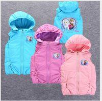 Wholesale Cotton Down Vests - Retail 3-10 Years Girl 2017 New Autumn Winter Down Jacket Waistcoat Cute Girls Cartoon Frozen Hooded Vest Outwear Kids Thicken Warm Coats
