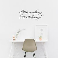 Wholesale Inspirational Vinyl Wall Decals - Stop Wishing Start Doing Inspirational Quotes Vinyl Art Wall Stickers for Kids Room Decor Various colors are Available