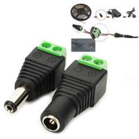 şerit jack toptan satış-2.1mm x 5.5mm DC Güç Kadın Erkek Jack Adaptör Kablosu Fiş Konnektörü Için CCTV / 5050 3528 LED Şerit Işık