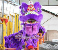 Wholesale Lion Mascot Costumes Adults - New handmade adult purple Lion Dance mascot Costume made of pure wool Southern Lion Adult size chinese Folk costume