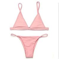 Wholesale Black Brazilian Bikini Bottoms - bikinis women 2017 Swimsuit Micro Bikini Set Bathing Suits With Halter Strap Swimwear Brazilian bottom Monokini