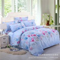 Wholesale Silk Quilt Comforter - 2017 Active printing hand-knit silk flower patterns fashion comfortable quilt cover pillowcases bedding sets of four