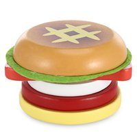 Wholesale Magnet Slices - Magnetic Hamburger Shape Simulation Wooden Sliced Toy Creative Cartoon Hamburger Simulation Food 3D Refrigerator Magnet Stickers
