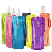 Wholesale Portable Pe Foldable Water Bottle - Wholesale 500pcs lot Eco-Friendly Portable Foldable Reuseable 480ml water bottle with Carabiner for outdoor sports travel folding bags