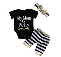 Wholesale Eyelash Bow - Ins Baby girl clothes Baby romper My mom is pretty Gold eyelash Letters romper + Striped shorts +bow headband Three-piece set 2017 Summer