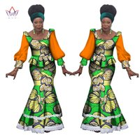 Wholesale Cotton Peplum Tops For Women - 2017 Spring African Dashiki for Woman Ruffle Top and mermaid Skirt set Bazin Riche robe Femme Plus Size evening Dress WY1153