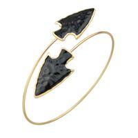 Wholesale Thin Alloy Bangles - Fashion Adjustable Arrow Design Metal Thin Upper Arm Cuff Bangle Bracelets for Women