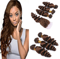 Wholesale Weave Front Closure - Loose Wave Peruvian Medium Brown Human Hair With Lace Closure #4 Chocolate Brown Free Middle Three Part 4x4 Front Lace Closure With 3Bundles