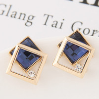 Wholesale Glass Earings - Brincos Gold Plated Geometric Stud Earrings For Women Bijoux Earings Glasses Stone Earings Fashion Jewelry