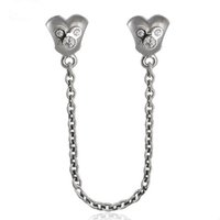 Wholesale Clear Flat Beads - Cartoon Heart Safety Chain Charms Beads 925 Sterling Silver Jewelry Clear CZ Beads For Diy Brand Logo Bracelets Jewelry Making Accessories