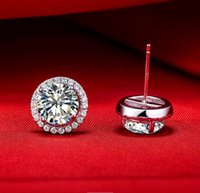 Wholesale Diamond Mounting Round - 4 Carat pair Micro Paved Mount Round Cut Synthetic Diamond Jewellery Engagement Earrings Stud Wholesale Sterling Silver Jewelry Fine