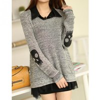 Wholesale New Skull Chiffon Shirt - Wholesale-Fake Two Piece women casual twinset sweaters skulls pattern pullovers with chiffon shirt new winter women sweaters ropa mujer