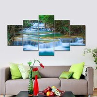 Gran cascada pacífica 5 paneles Modern Canvas Print Artwork Paisaje Pictures Photo Paintings on Canvas Wall Art