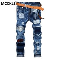 Wholesale Trousers Patch - Wholesale-Mens Ripped Patch Jean Joggers Slim Fit Straight Destroyed Denim Trousers Male Washed Blue Distressed Jeans Pants Brand Designer