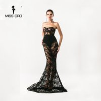 Wholesale Maxi Bra Dress - Wholesale- Free shipping Missord 2017 Sexy Bra sexy lace stitching maxi party dress floor-length dress FT4392