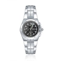 Wholesale Cheap Mens Watches Wholesale - Cheap mens sports watches Alloy case stainless steel strap japan quartz movement with black and white dial