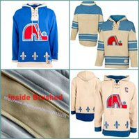 québec nordiques hoodie achat en gros de-Top Quality Hommes Old Time Hockey Quebec Nordiques Blank Jersey Jersey Hoodie Authentic Hoodies Jerseys Winter Sweatshirts Blue Cream White