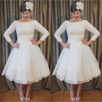 Wholesale tea length wedding dresses online - Plus Size Tea Length Lace and Chiffon Wedding Dresses Cheap A Line Beach Bridal Gowns with Long Sleeves Elegant Custom Made