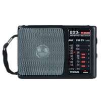 Wholesale Portable Tv Sound Radio - Wholesale-Original TECSUN R-203T FM MW TV Sound Radio Receiver Portable Mini Pocket Size High Sensitivity FM Radio Bulit in Speaker