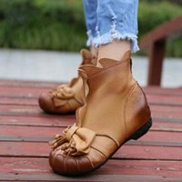 Wholesale National Trend Boots - Wholesale-New arrival genuine leather women shoes national trend winter boots female plus velvet round toe ankle boots