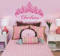 calcomanías de nombre personalizado para las paredes al por mayor-Baby Girl Crown Vinilo Art Sticker de pared Princess Nursery Custom Girls Girls Art Name Dormitorio Decorativo Tatuajes de pared 40 * 58 cm