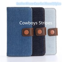 Flip Bookstyle Accessori per cellulari con Cowboys Stripes Pattern Copertura posteriore in pelle PU per iPhone7 7plus