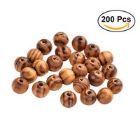 ingrosso i monili dei capelli di legno-200pcs 8mm perline di legno verniciato naturale rotondo branello di legno allentato all'ingrosso lotto palla per monili che fanno mestiere capelli fai da te collana