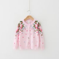 Wholesale Christmas Pink Cardigan - Everweekend Girls Floral Knitted Sweater Cardigans Jackets Pink Color Spring Fall Cute Children Outwears Christmas Clothing