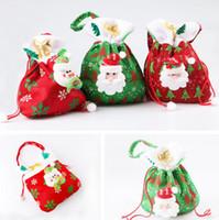 Wholesale Santa Christmas Wrap - Christmas Personalized Santa Sack Drawstring Sweet Candy Treats Holder Bags Holiday Gift Wrap Stocking handbag party xmas decoration