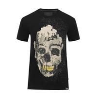 Wholesale Tshirts Slim Sleeve Mens - 2017 Hip Cool Men tshirts Cotton Short Fit Slim Casual Tee Print 3D SKULLS Rhinestone desinger Fit MENS T-shirts Cotton Top quality C59-1-3