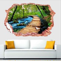 Atacado - 3D Forest Landscape Wall Sticker Fake Window Removable Bedroom Living Room Decor Art Decals