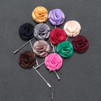 Wholesale China Wholesale Women Suits - 12 Colors Elegant Lapel Flower Handmade Sillk Boutonniere Sticks Men Women Party Dress Brooches Pins Fashion Suit Brooch Corsage