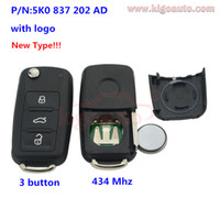 Wholesale car K0837202AD Remote key button HU66 Mhz K0 AD for VW Passat Polo Golf Jetta Beetle Tiguan