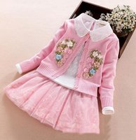 Wholesale Set Skirt Top Cardigan - 2017 Autumn Sweet Girls Outfits Sets Long Sleeve Flower Sweater Cardigan Coats + T-shirts Tops + Lace Tutu Skirts 3pcs Set Suits