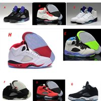 Wholesale Reflective Fire - Classic Retro 5 V Basketball Shoes Men Women Sneakers Authentic Oreo 3M Reflective Effect Fire Red Woman 5 V Sport Shoes High Quality