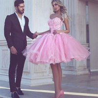 Wholesale homecoming dresses little girls - Charming Pink Ball Gown Homecoming Dresses 2017 Sweetheart Appliques Knee Length Modest Arabic Girls Party Pageant Prom Gowns Cheap Custom