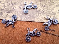 Wholesale silver motorcycle charms for sale - Group buy 30pcs Motorcycle Charms Antique Tibetan Silver Tone sided Dirt Bike charm pendants X18mm
