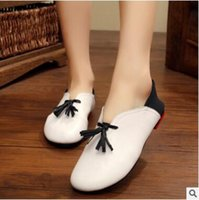 Wholesale Shoes For Pregnant - Naishio handmade shoes, women leather soft soles for pregnant women shoes with a shallow round head flat women's single shoe size