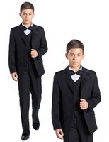 Compra Camicie Prom-Page Boys 6 PCS Nero Wedding Prom Sposa Party Tuxedo Camicia Nero Giacca Suit