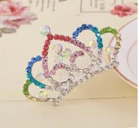 ingrosso blu corona tiaras-Nuovo arrivo cristallo ragazza bambini diademi accessori per capelli bianco rosa blu colorato corona gioielli partito royal tiara all'ingrosso GLLA200