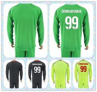Wholesale Long Sleeve Soccer Jerseys Blank - Top Fast Uniforms Kit 2017-2018 Soccer Jersey AC Milan Blank #99 Donnarumma Goalkeeper Black Green yellow Long Sleeve Jerseys