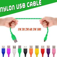 Wholesale Fabric Apples - Nylon Braided Micro USB Cables Charging Adapter Sync Data High Speed Durable Fabric 1M 3ft 2M 6ft 3M 10ft Nylon Woven Cords For Samsung S8